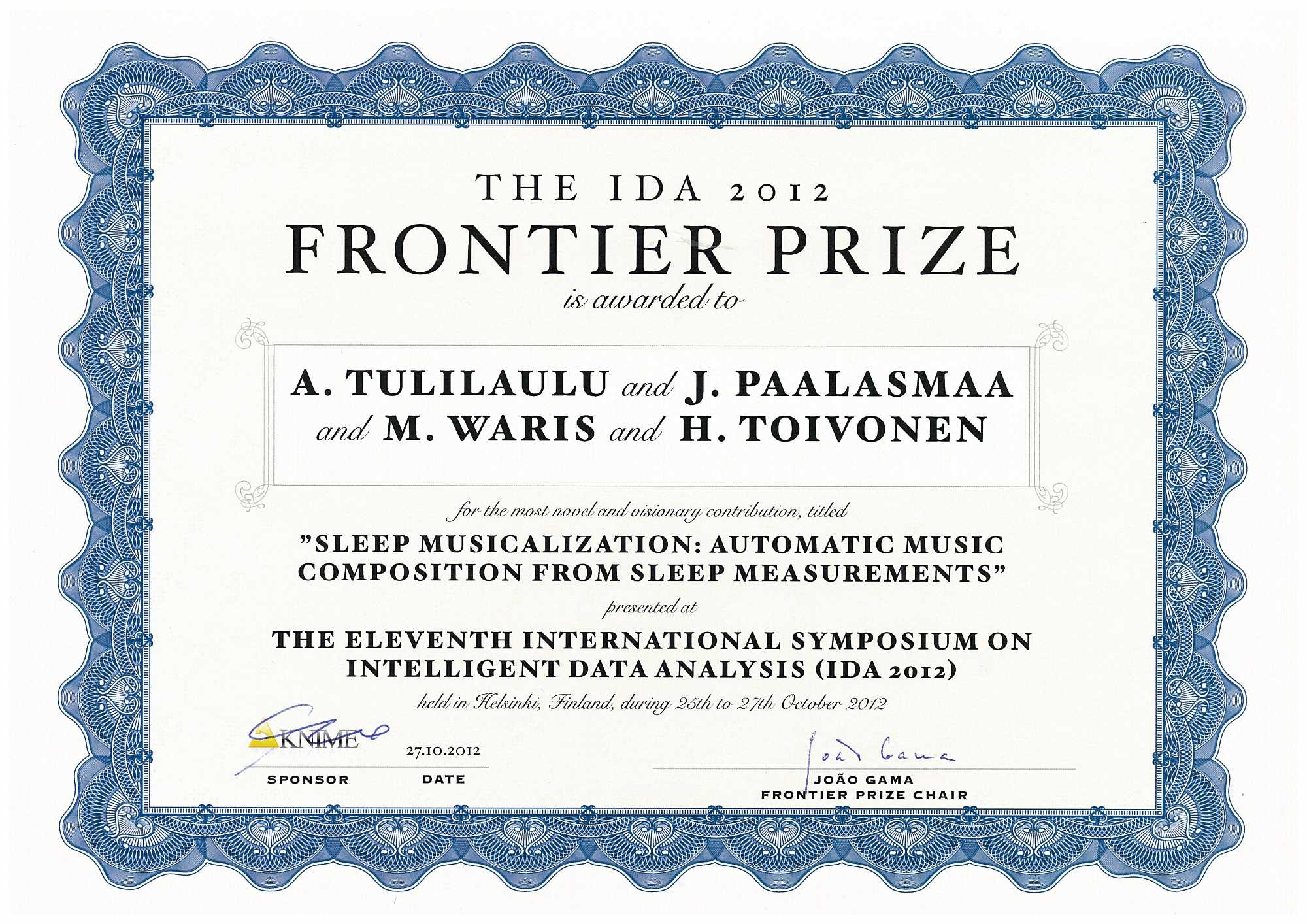Prizes Helsinki Institute For Information Technology University